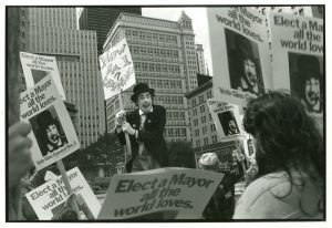 """Gino """"tossing his hat into the ring"""", NYC City Hall, 1977"""